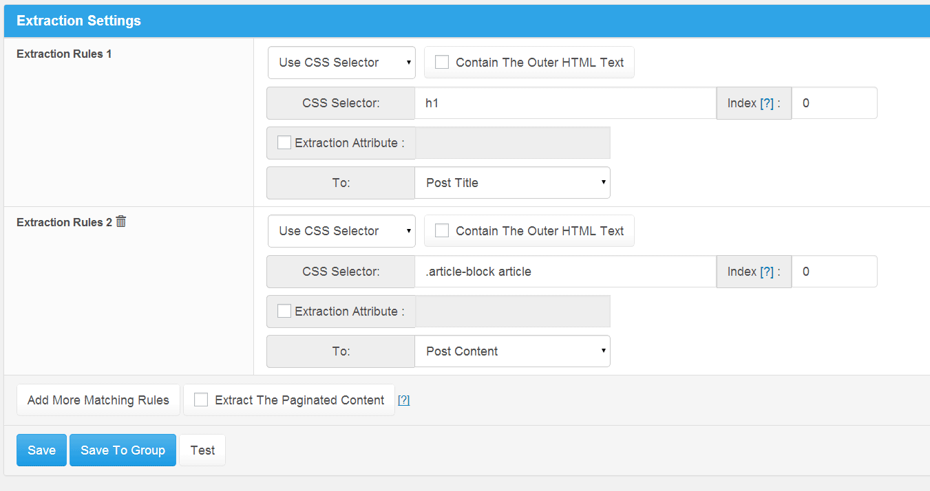 Use 'Wildcards Match Pattern' or 'CSS Selector' accurately extract any content, supports extract The Paginated Content